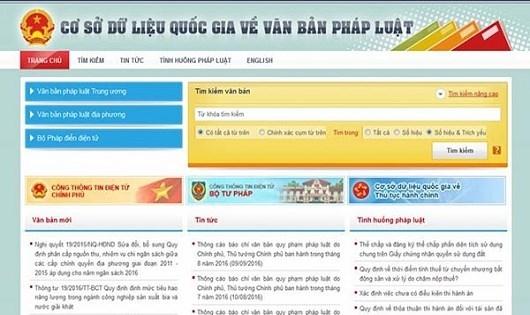 Giao diện website Cơ sở dữ liệu quốc gia. (Ảnh internet)
