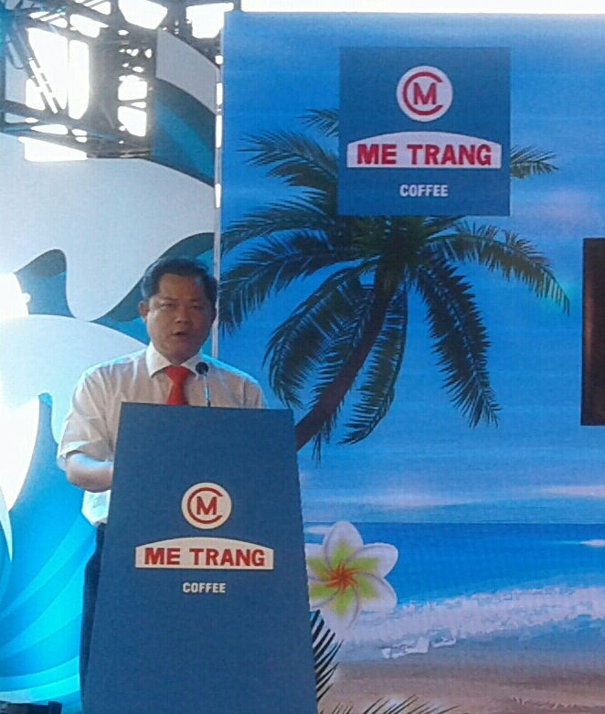 Ông Lương Thế Hùng - Tổng Giám đốc công ty Cà phê Mê Trang phát biểu tại buổi lễ.