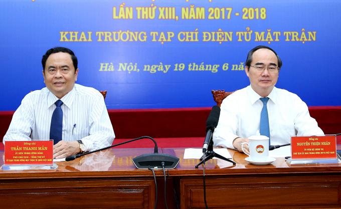 Chủ tịch Nguyễn Thiện Nhân và Phó Chủ tịch - Tổng Thư ký Trần Thanh Mẫn chủ trì buổi lễ.