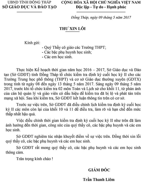 Ngay sau sự việc xảy ra, Giám đốc Sở GD-ĐT tỉnh Đồng Tháp, ông Trần Thanh Liêm có thư xin lỗi các phụ huynh, học sinh và giáo viên trên địa bàn tỉnh Đồng Tháp.