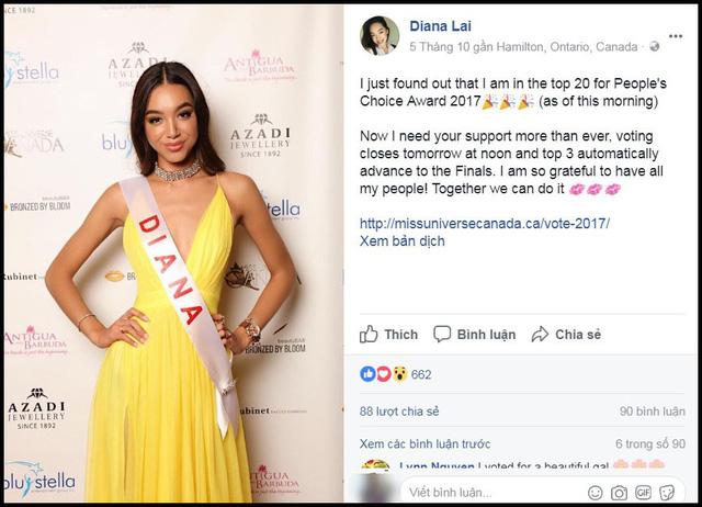 Diana Lai kêu gọi bình chọn trên trang cá nhân.