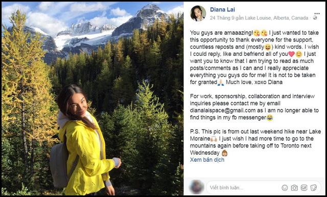 Diana Lai cảm ơn những người ủng hộ cô.