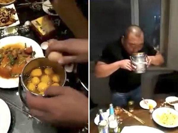 Người đàn ông nuốt 27 quả trứng sống trong hơn haiphút. Ảnh:T.H.