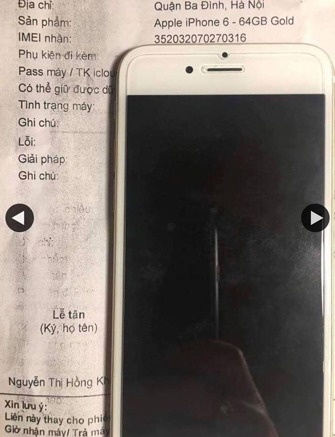 Chiếc điện thoại của chị H. (Ảnh khách hàng cung cấp)