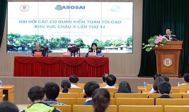 Tổng KTNN Hồ Đức Phớc chủ trì cuộc họp báo.