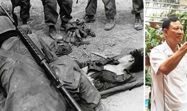 Bức ảnh do nhiếp ảnh gia Ed Hawes chụp năm 1968 và ông Đinh Tiên Phong (hiện tại) . Ảnh: Việt Hà