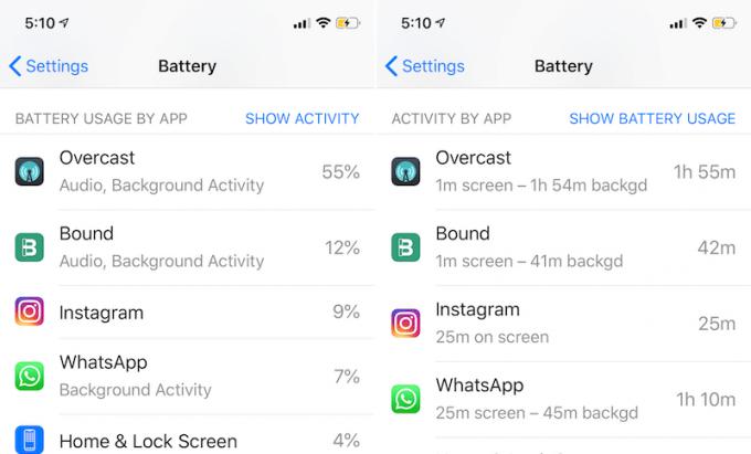 Xem phần trăm sử dụng pin và xem thời gian hoạt động của ứng dụng.