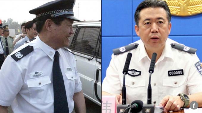 Cựu Bộ trưởng Công an Trung Quốc Chu Vĩnh Khang (trái) và cựu Chủ tịch Interpol Mạnh Hoành Vĩ. (Ảnh: SCMP)