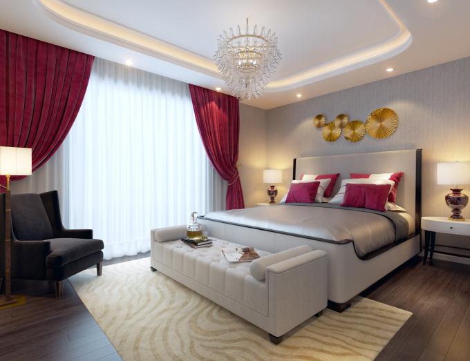 Gold Tower với phòng ngủ master tràn ngập ánh sáng tự nhiên, hòa quyện với nội thất trang nhã và tinh tế.