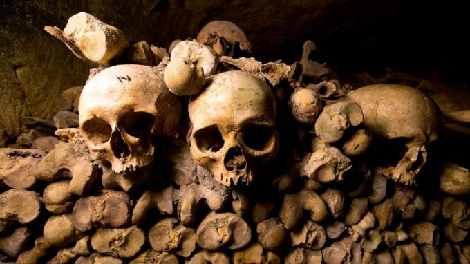 Hầm mộ Paris(Pháp):Vốn là một hầm mỏ cũ bỏ hoang, nhưng đến năm 1786, nơi đây lại trở thành nơi cất chứa hài cốt. Vào những năm 40 của thế kỷ 16, Pháp hứng chịu cơn đại dịch hạch khiến hơn 7 triệu người chết, đây là lý do khiến các nghĩa trang trở nên quá tải và chính phủ Pháp đã yêu cầu di dời toàn bộ thi hài về khu mỏ và cải tạo hầm mộ Paris như hiện tại. Ảnh:i.pinimg.