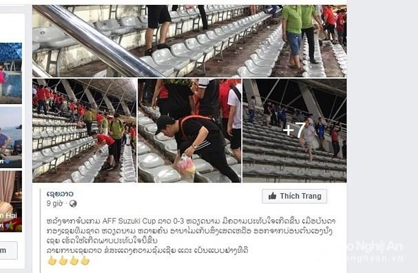 Mạng xã hội ở Lào chia sẻ và khen ngợi hình ảnh đẹp của các cổ động viên Việt Nam sau trận đấu. Ảnh: Lang Quốc Khánh