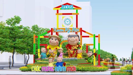 Ở vị trí trung tâm cổng chào là đại gia đình Hợi với 9 thành viên cùng nhau đi chơi Tết, sắm Tết