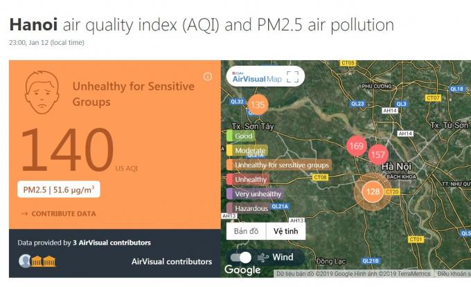Chỉ số AQI đo được tại Hà Nội vào 11 giờ tối ngày 12/1/2019. Nguồn: AirVisual.com