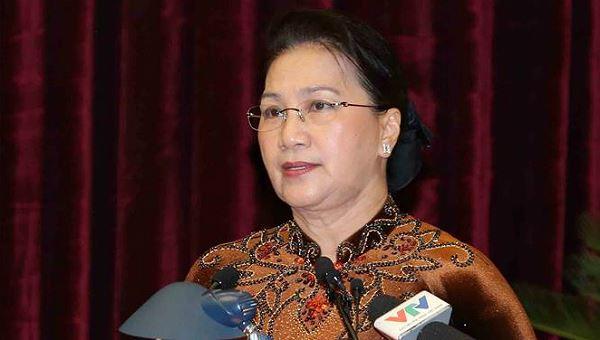 Chủ tịch QH Nguyễn Thị Kim Ngân phát biểu tại hội nghị.