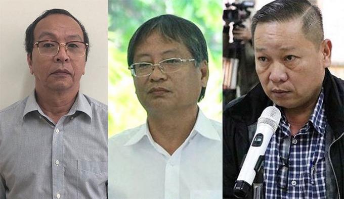 Từ trái qua, ông Nguyễn Đình Thống, Nguyễn Ngọc Tuấn và Phan Minh Cương. Ảnh: Bộ Công an