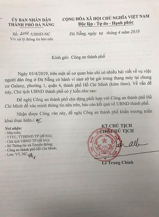 Công an do PCT UBND TP. Đà Nẵng ký.