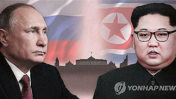 Ông Putin và ông Kim.
