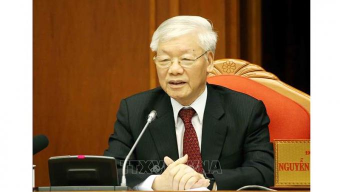 Tổng Bí thư, Chủ tịch nước Nguyễn Phú Trọng phát biểu bế mạc hội nghị. Ảnh: Phương Hoa/TTXVN