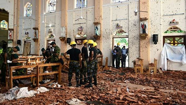 Hiện trường vụ tấn công tại Sri Lanka.
