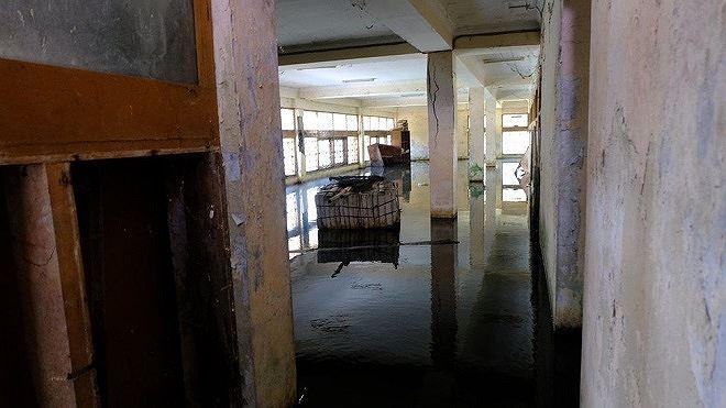 Nước đọng tại tầng trệt một ngôi nhà đã bị bỏ hoang.