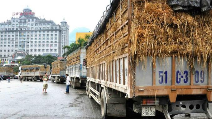 Xe chở nông sản Việt Nam xếp hàng chờ thông quan tại một cửa khẩu giáp Trung Quốc.