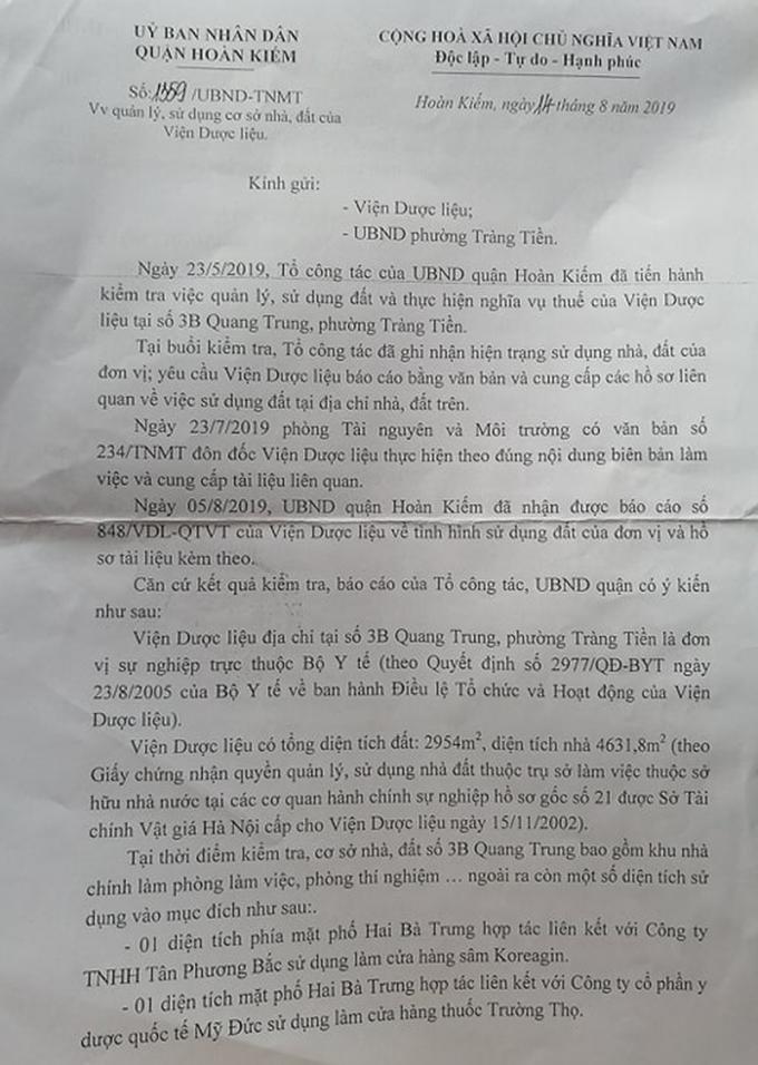 Văn bản UBND quận Hoàn Kiếm cung cấp cho báo PLVN.