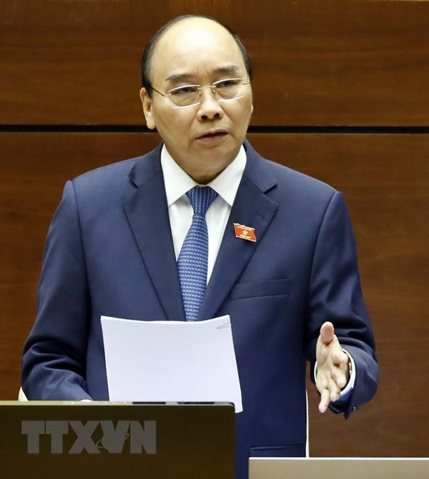 Thủ tướng Nguyễn Xuân Phúc trả lời chất vấn của đại biểu Quốc hội. (Ảnh: Thống Nhất/TTXVN)