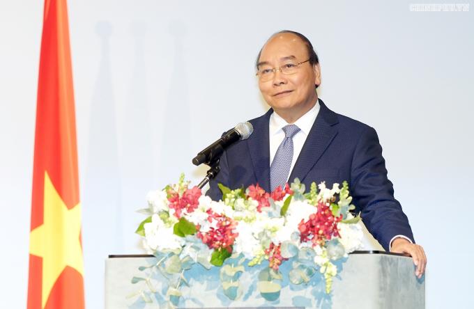 Thủ tướng Nguyễn Xuân Phúc phát biểu tại Diễn đàn - Ảnh: VGP/Quang Hiếu