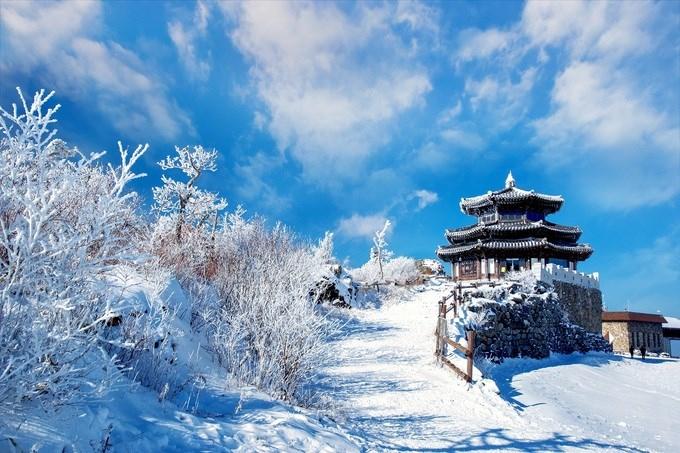 Vườn quốc gia Deogyunsan, Hàn Quốc Đây là một trong những điểm trượt tuyết nổi tiếng nhất của Hàn Quốc, cách thủ đô Seoul khoảng 3 giờ lái xe. Nơi đây có những đường dốc tuyết dài cho người chơi chuyên nghiệp và cả dốc phù hợp cho người mới bắt đầu. Ảnh: Raker/Shutterstock.