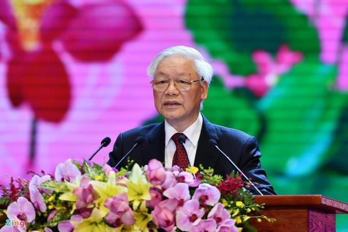 Tổng bí thư, Chủ tịch nước Nguyễn Phú Trọng phát biểu tại Lễ kỷ niệm 130 năm ngày sinh Chủ tịch Hồ Chí Minh. Ảnh: Hoàng Hà.