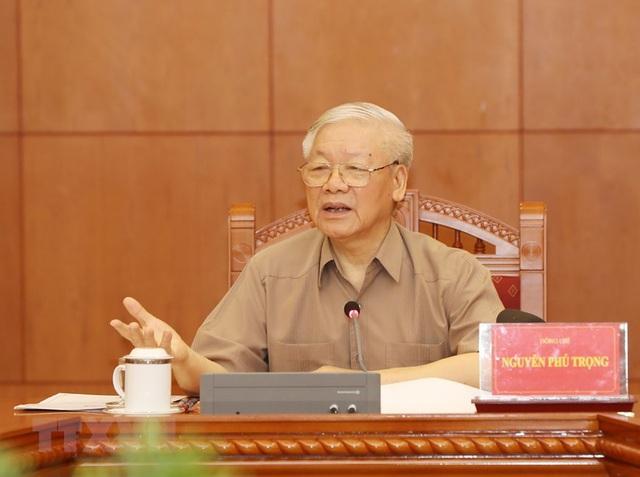 Tổng Bí thư, Chủ tịch nước Nguyễn Phú Trọng, Trưởng Ban Chỉ đạo phát biểu kết luận cuộc họp. (Ảnh: Trí Dũng/TTXVN)