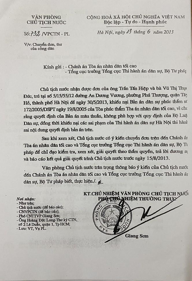 Văn bản chuyển đơn, thư công dân của Văn phòng Chủ tịch nước gửi Chánh án Tòa án nhân dân tối cao và Tổng cục trưởng Tổng cục Thi hành án dân sự - Bộ Tư pháp.