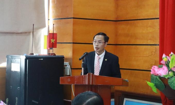 Tân Phó Hiệu trưởng Đại học Luật Hà Nội phát biểu.