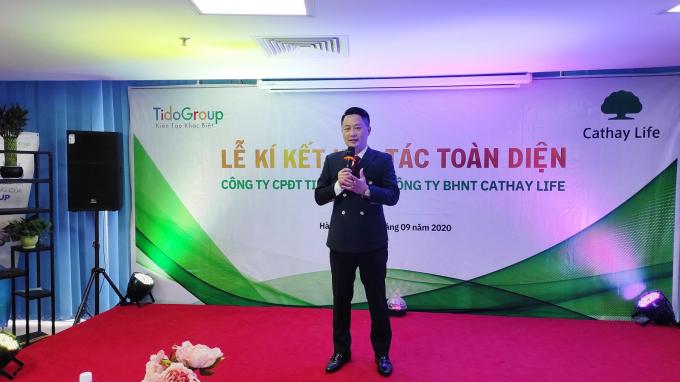 Ông Đỗ Xuân Quế - Chủ tịch HĐQT công ty Tido Group phát biểu tại buổi lễ.