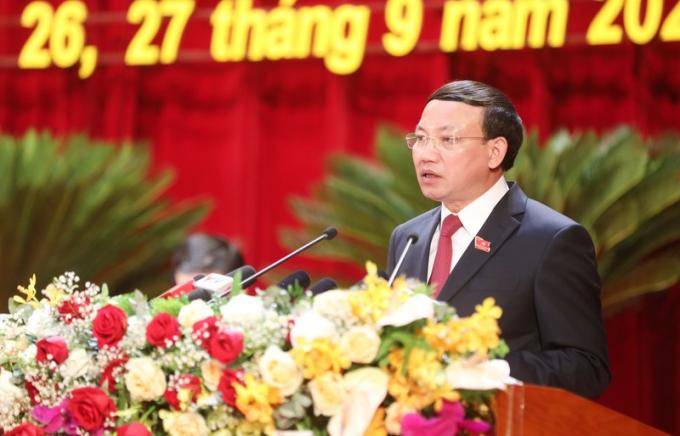 Đồng chí Nguyễn Xuân Ký, Bí thư Tỉnh ủy, Chủ tịch HĐND phát biểu tại Đại hội.
