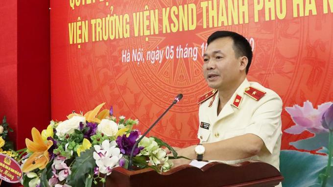Tân Viện trưởng VKSND thành phố Hà Nội Đào Thịnh Cường phát biểu nhận nhiệm vụ tại buổi Lễ