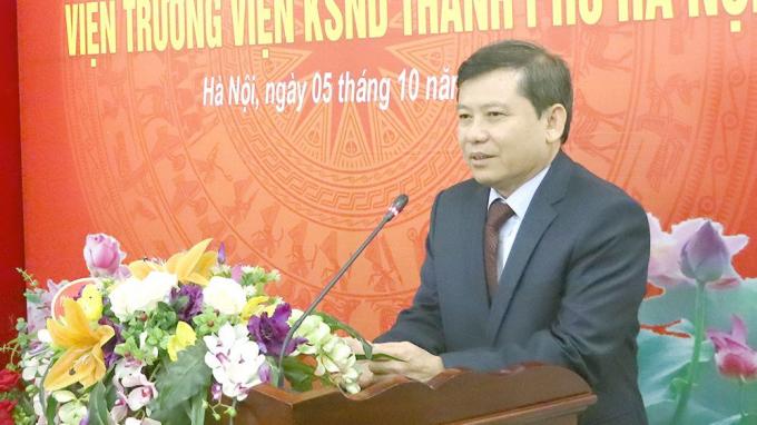 Đồng chí Lê Minh Trí, Viện trưởng VKSND tối cao phát biểu tại buổi Lễ