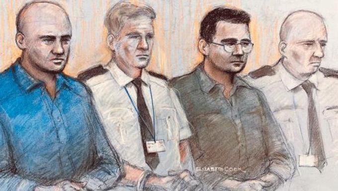 Georgy Nika (trái) và Eamonn Harrison (phải) là hai trong số bốn người bị đưa ra xét xử ở Old Bailey. Ảnh: PA.