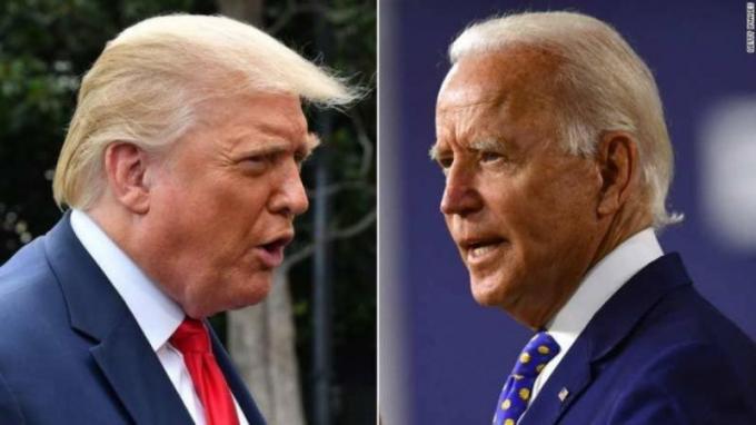 Ông Donald Trump (trái) và ông Biden (phải).