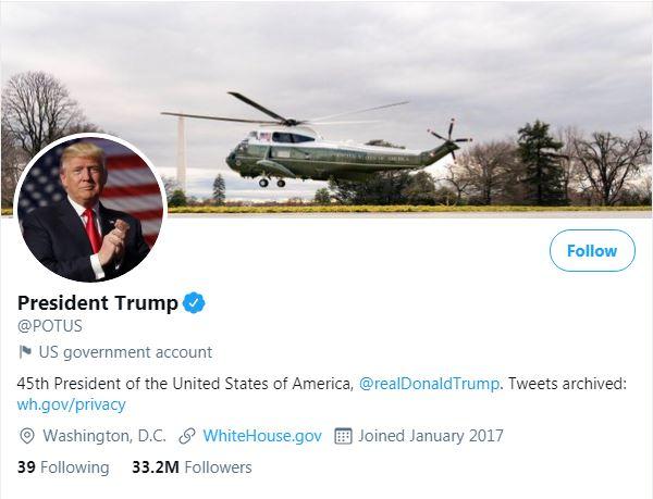 Tài khoản Twitter của Tổng thống Mỹ thứ 45 Donald Trump (ảnh chụp màn hình).