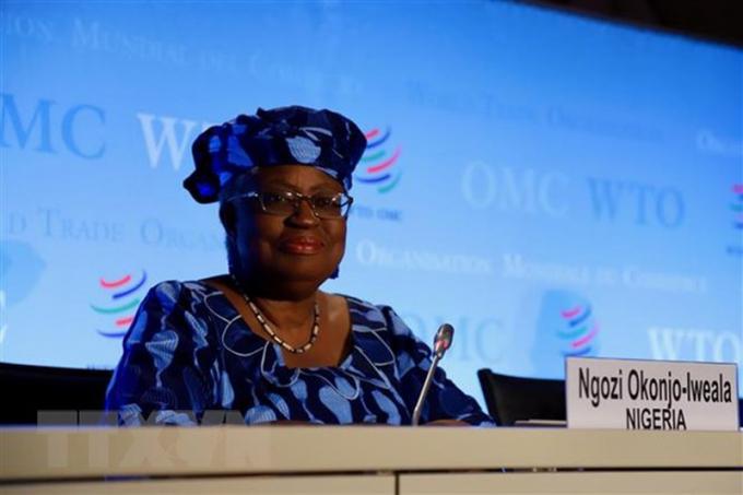 Bà Ngozi Okonjo-Iweala tại một cuộc họp báo ở Geneva, Thụy Sĩ.