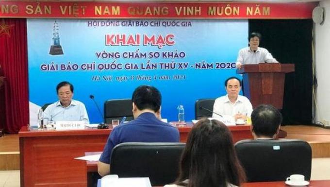 Phó Chủ tịch Thường trực Hội Nhà báo Việt Nam, Phó Chủ tịch Thường trực Hội đồng Giải Báo chí quốc gia Hồ Quang Lợi phát biểu tại lễ khai mạc.