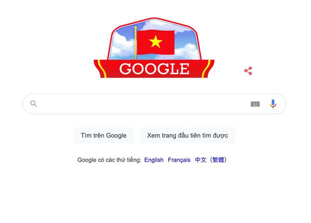 Google đã thay đổi giao diện mừng ngày Quốc khánh của Việt Nam.