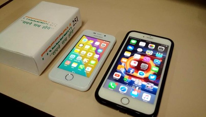 Freedom 251 đặt cạnh iPhone của Apple.