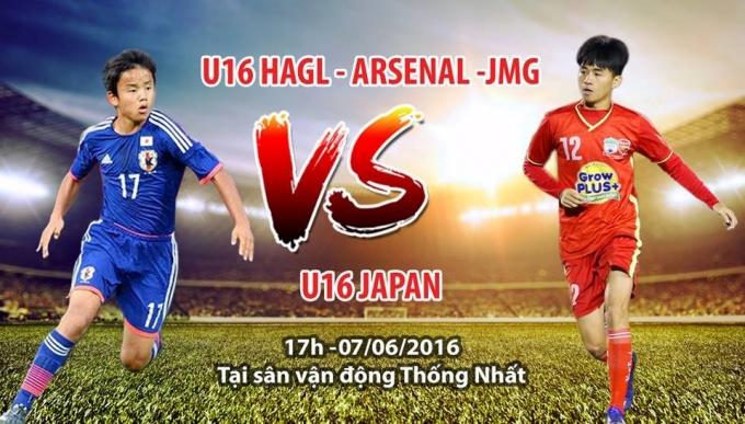 17h00 chiều nay 7/6, U16 HAGL Arsenal JMG sẽ có trận giao hữu với U16 Nhật Bản trên sân Thống Nhất