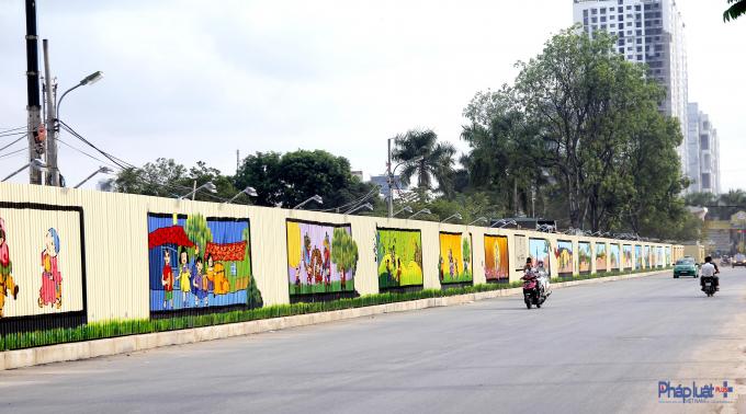 Con đường tranh 3D với tổng diện tích lên đến 1.000 m2 tọa lạc bên đường vào một Khu đô thị ở ngõ 136 Hồ Tùng Mậu, TP Hà Nội.