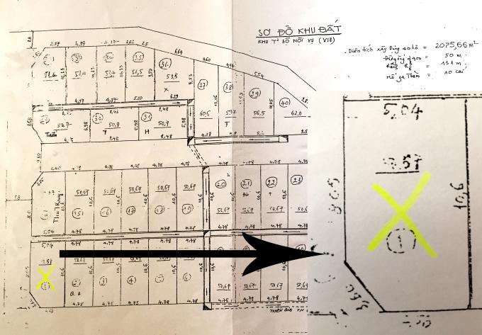 Trích lục bản đổ thì hiện số nhà 26, ngõ 1, phố Phạm Tuấn Tài là hình ngũ giác không phải là hình vuông như hiện nay.
