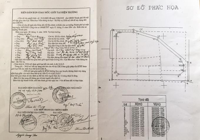 Hồ sơ mốc địa giới của Sở địa chính Hà Nội ban hành ngày 20/4/1996.