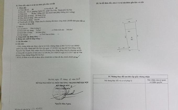 Giấy chứng nhận QSDĐ của gia đình ông Đỗ Việt Hồng được cơ quan có thẩm quyền cấp.