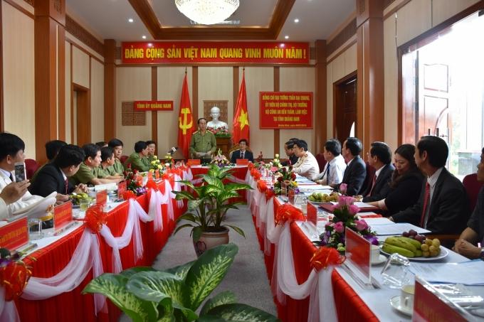 Bộ trưởng Trần Đại Quang làm việc với Ban Thường vụ Tỉnh ủy tỉnh Quảng Nam.